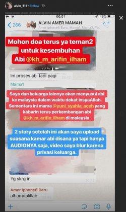Alvin bagikan kondisi terkini Ustaz Arifin Ilham yang dirawat di Malaysia.