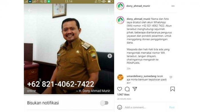 Nama Bupati Sumedang, Dony Ahmad Munir, dicatut orang tak bertanggung jawab untuk menipu.