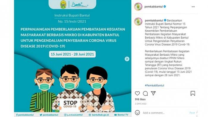 Aturan PPKM Mikro di Kabupaten Bantul, DI Yogyakarta.