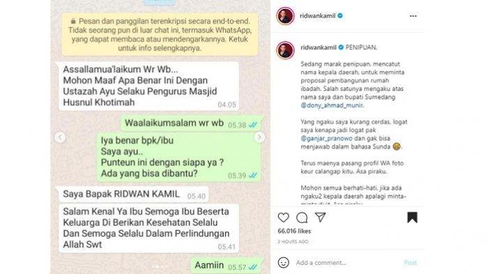 Nama Gubernur Jawa Barat, Ridwan Kamil, dicatut orang tak bertanggung jawab untuk menipu.