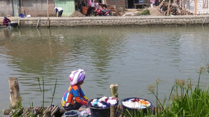 Aktivitas di Pesisir Utara Karawang, Mandi Cuci di Sungai, Intrusi Air Laut Hingga Mencari Udang