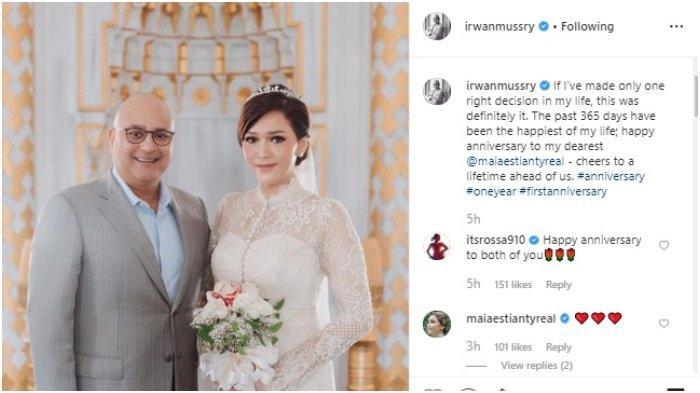 Rayakan Anniversary Pernikahan, Irwan Mussry: 365 Hari Paling Membahagiakan dalam Hidup Saya