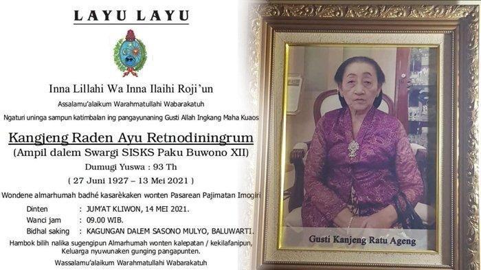 Istri Raja Solo Paku Buwono XII, KRAy Retnodiningrum Meninggal Dunia, Dikebumikan di Makam Imogiri