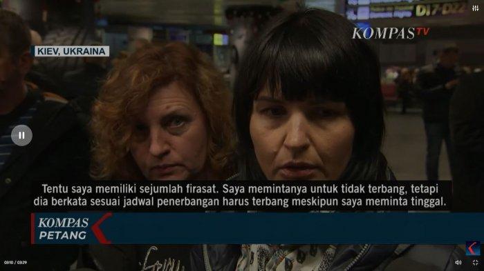 Tangkap Layar YouTube KompasTV Istri Pilot Pesawat Ukraine International Airlines, Kateryna Gaponenko buka suara. Ia sempat melarang sang suami pergi bekerja. Hal itu lantaran, sang istri merasa khawatir dengan situasi keamanan yang tengah terjadi di  Iran saat itu.