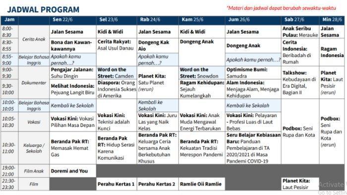 Jadwal Belajar dari Rumah TVRI untuk 22 - 28 Juni 2020