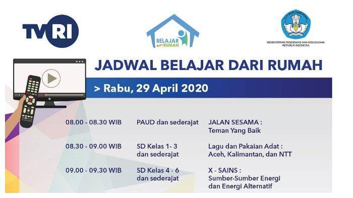 Jadwal Belajar dari Rumah TVRI, Rabu 29 April 2020: Lagu dan Pakaian Adat, Pukul 08.30 WIB.