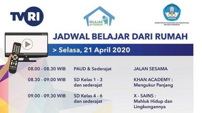 Jadwal Belajar dari Rumah TVRI Selasa, (21/4/2020)