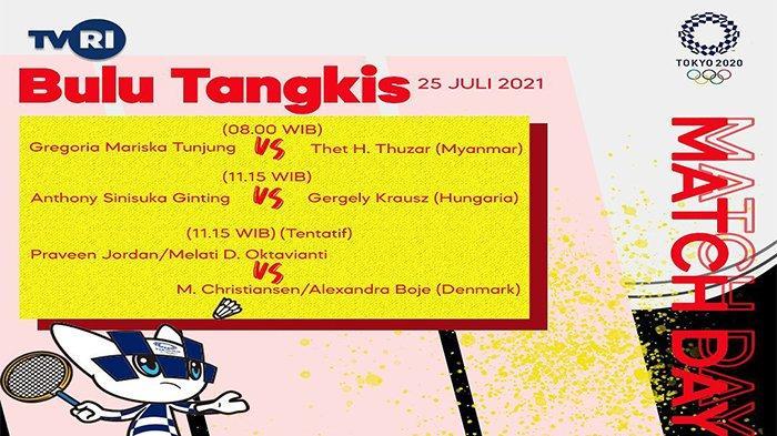 Live Streaming TVRI, Anthony Ginting vs Gergely Krausz, Badminton Olimpiade 2021, Link Vidio di Sini