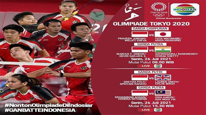 Jadwal cabor bulutangkis di Olimpiade Tokyo 2021, Senin (26/7/2021) live Indosiar, mempertandingkan empat kontingan Merah Putih