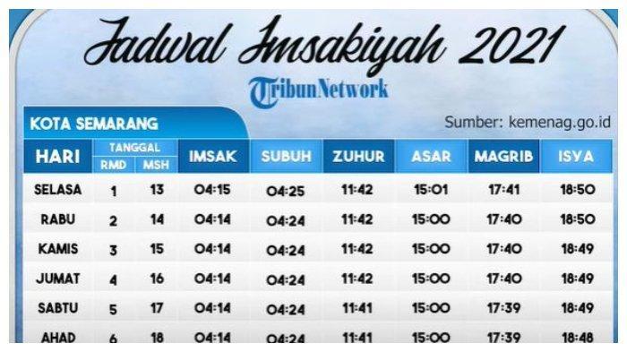 Jadwal Imsak dan Buka Puasa di Semarang Hari Ini, Sabtu, 17 April 2021