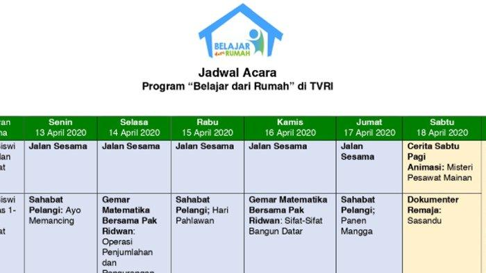 Jadwal Lengkap TVRI Belajar dari Rumah Mulai Senin 13 April 2020, Jalan Sesama hingga Film Nasional