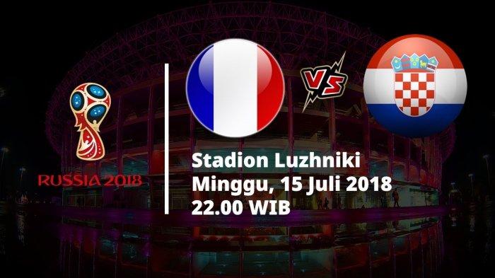 Jadwal Live Trans TV Pertandingan Final Piala Dunia 2018, Prancis Vs Kroasia Pukul 22.00 WIB