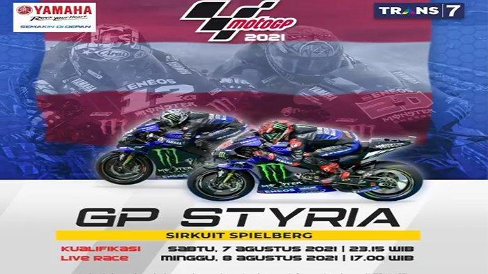 Balapan MotoGP Styria 2021 di Sirkuit Red Bull Ring, Austria disiarkan secara langsung Trans7, Minggu (8/8/2021) mulai pukul 17.00 WIB.