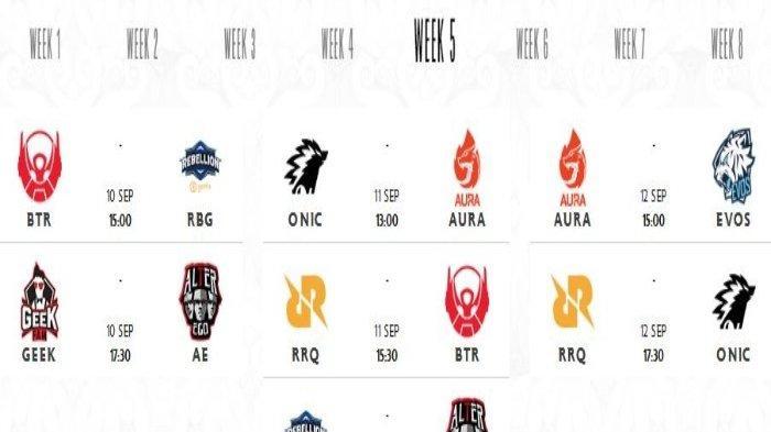 Jadwal MPL Season 8 Minggu Ini: Alter Ego Hadapi 2 Tim Dasar Klasemen, RRQ vs ONIC dan Aura vs Evos