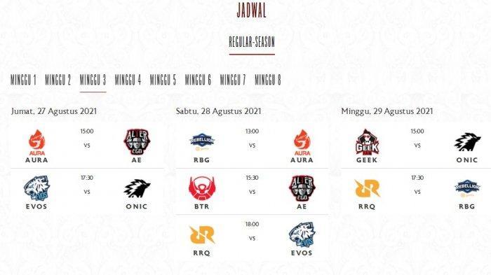 Jadwal MPL ID Season 8 Akhir Pekan Ini, Ada Laga EVOS vs ONIC dan RRQ vs RBG, Berikut Klasemennya