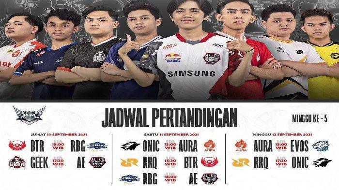 Jadwal MPL Season 8 Minggu Kelima, mulai Jumat hingga Minggu (10-12/9/2021).