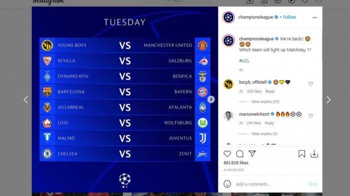Jadwal pertandingan Liga Champions matchday pertama fase grup yang bakal tersaji Selasa (14/9/2021) hingga Kamis (16/9/2021)