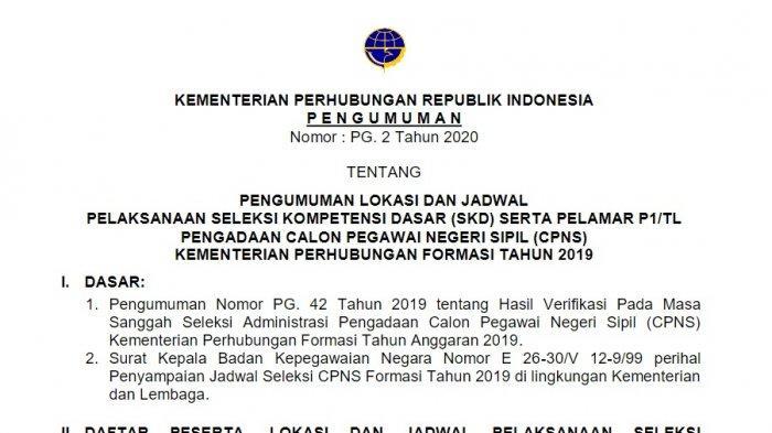 Jadwal SKD CPNS Kemenhub 2019