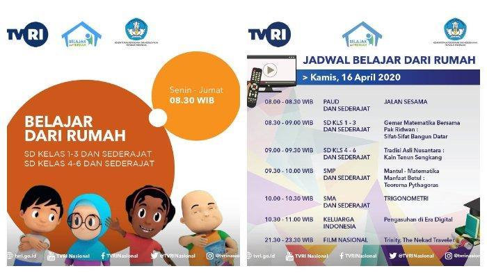 Jadwal Tayang Belajar dari Rumah TVRI Besok, Kamis 16 April 2020: PAUD hingga SMA, Berikut Linknya.