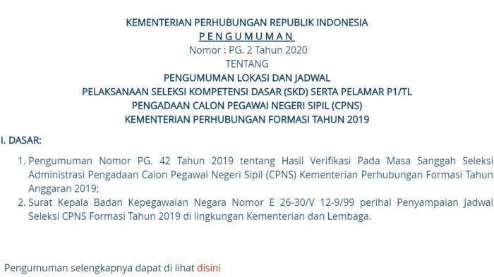 UPDATE CPNS 2019: Lokasi dan Jadwal Tes SKD Kementerian Perhubungan (Kemenhub)