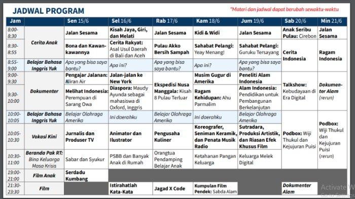 Jadwal Belajar dari Rumah TVRI, 15 - 21 Juni 2020