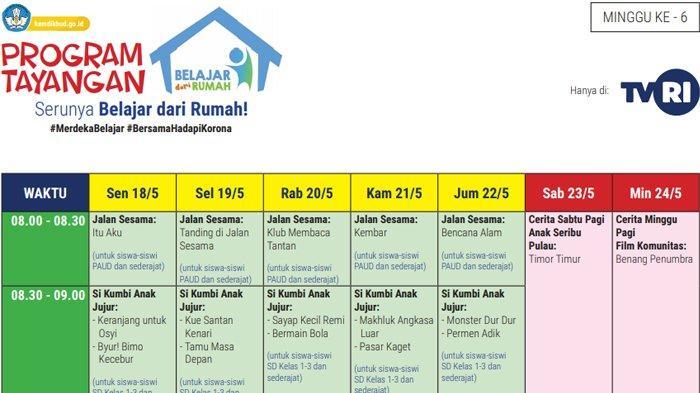 Jadwal TVRI Belajar dari Rumah Selama Libur Lebaran, Mulai 18 Mei 2020 hingga 24 Mei 2020 (kemdikbud.go.id)