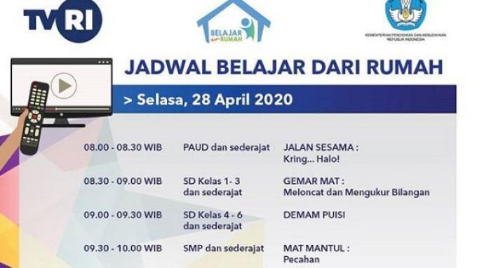 Jadwal TVRI Belajar dari Rumah Selasa, (28/4/2020)