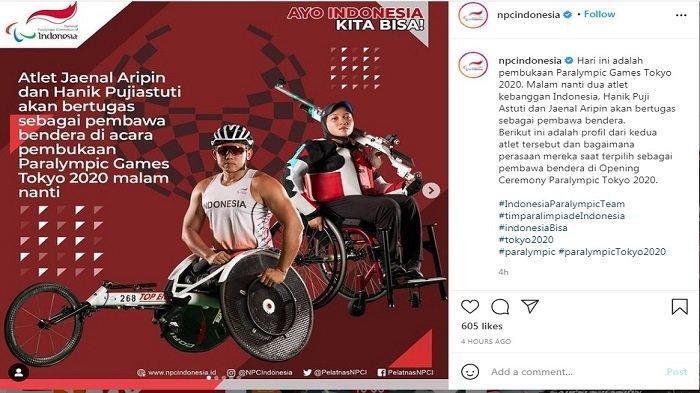 Indonesia akan diwakili oleh Jaenal Aripin dan Hanik Pujiastuti sebagai pembawa bendera merah putih di pembukaan Paralimpiade Tokyo 2021.