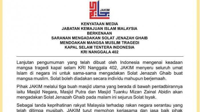 Pemerintah Malaysia Juga Ajak Masyarakat Muslim Shalat Ghaib untuk Awak KRI Nanggala 402