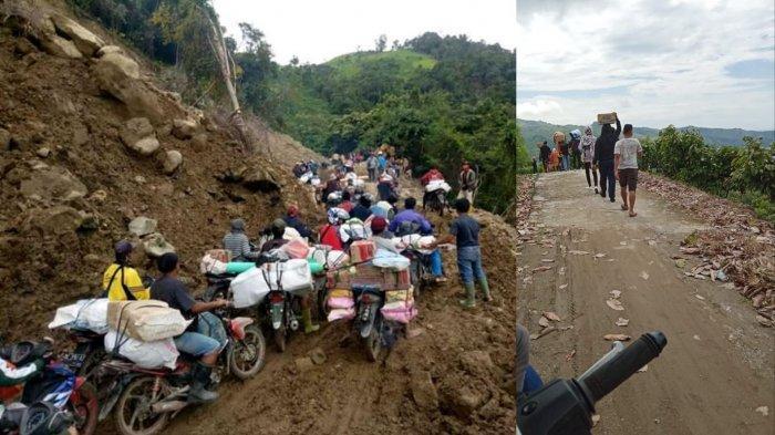 Akses Jalan Sulit, Relawan Terpaksa Jalan Kaki Pikul Bantuan ke Pos Pengungsian Korban Gempa Majene
