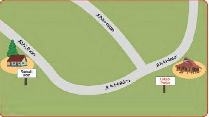 Jalan yang dilalui Udin dan ayah menuju lokasi pesta. Buku Tematik Kelas 2 Tema 8.