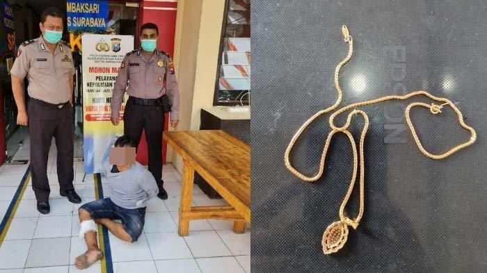 Dikejar Korbannya Sambil Berteriak Maling, Jambret Kalung di Surabaya Dihadiahi Timah Panas Polisi