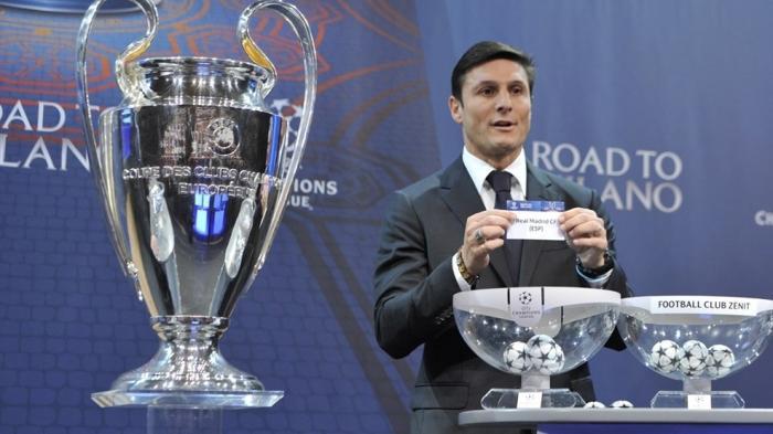 Javier Zanetti jadi duta final saat undian babak 16 besar Liga Champions di Nyon, Swiss, Senin (14/12/2015).