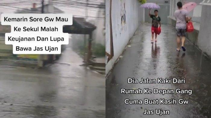Viral Video Pemuda Tiba-tiba Dibawakan Jas Hujan oleh Teman Sekolahnya saat Berteduh, Ini Ceritanya