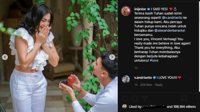 Jessica Iskandar baru saja dilamar oleh kekasihnya, Vincent Verhaag.