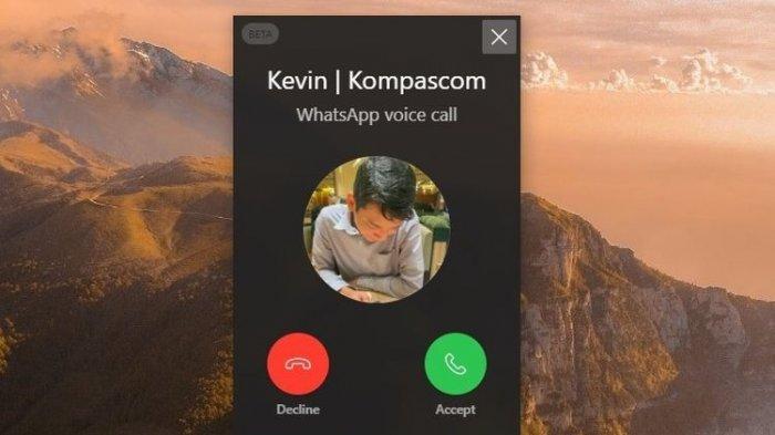 Jendela notifikasi panggilan masuk pada WhatsApp Web.