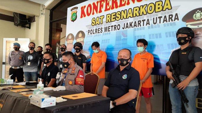 Rilis kasus narkoba ex drummer BIP Jaka Hidayat di Polres Metro Jakarta Utara, Jumat (4/9/2020).