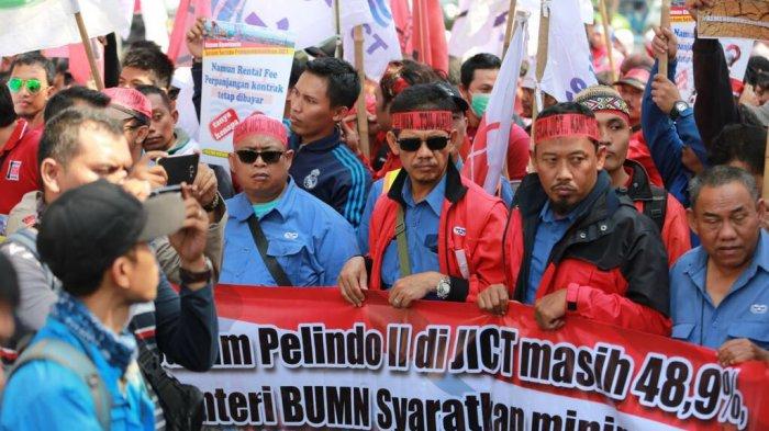Ratusan Pekerja JICT Demo Kementrian BUMN, Tuntut Kepastian Perpanjangan Kontrak