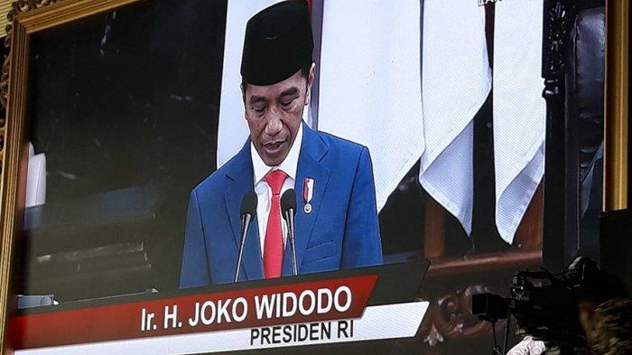 Presiden Jokowi pidato di sidang tahunan MPR RI.