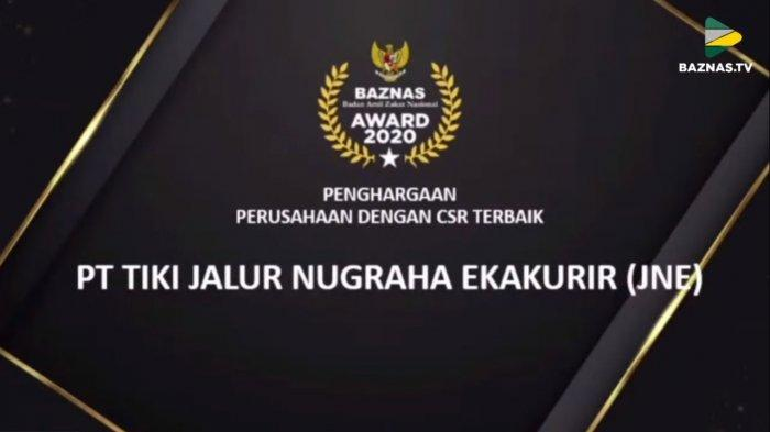 JNE Kembali Raih Penghargaan Dalam BAZNAS Award 2020