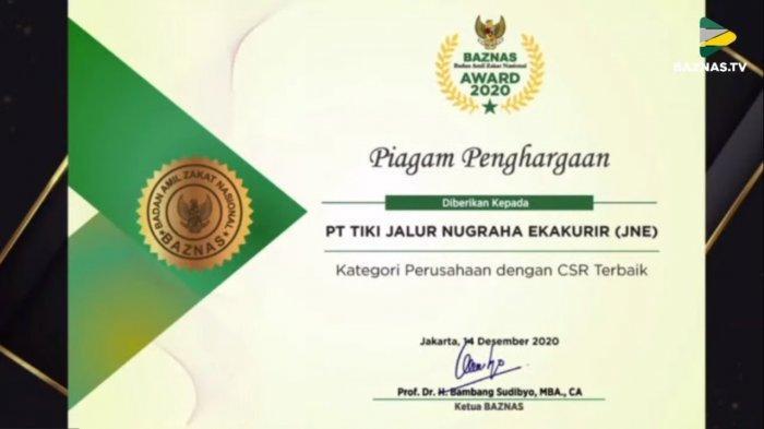 JNE kembali raih penghargaanPerusahaan dengan CSR Terbaik Baznas Award 2020
