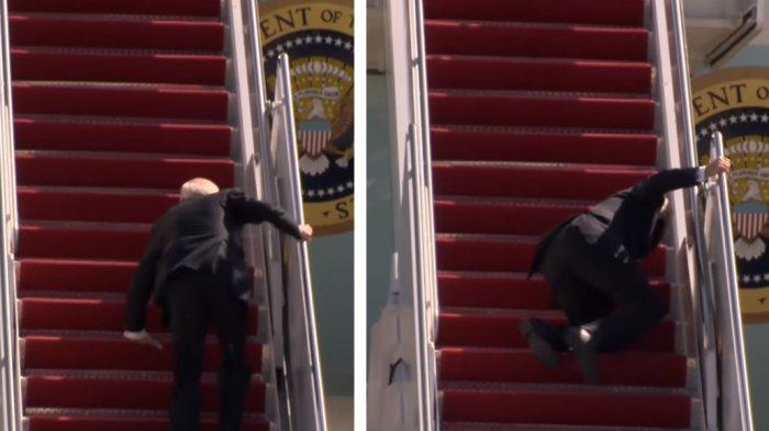 Joe Biden Tersandung Berkali-kali saat Naik Tangga Pesawat