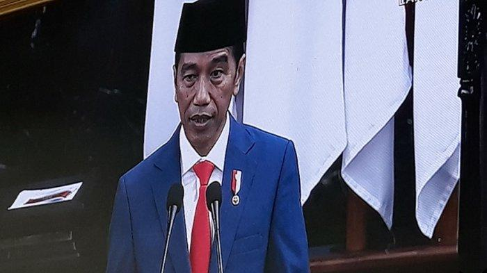 Jokowi dalam pidato Sidang Tahunan MPR di Ruang Rapat Paripurna MPR, Gedung Nusantara 1, Jakarta, Jumat (16/8/2019).