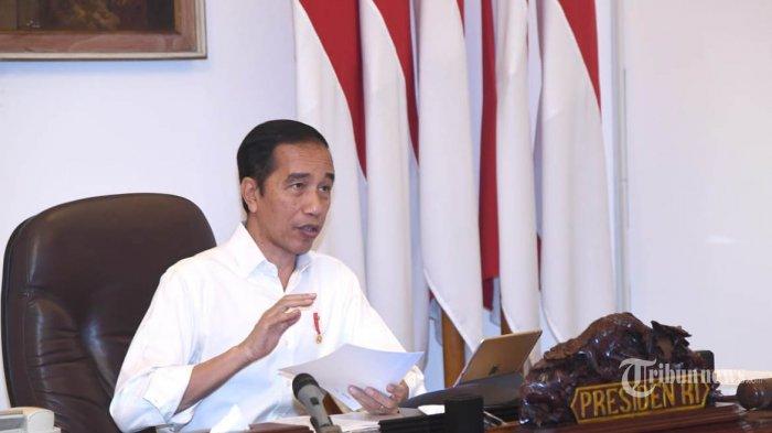 Presiden Joko Widodo menggelar rapat terbatas virtual tentang ketahanan pangan dan larangan mudik Lebaran 2020, di Istana Negara, Jakarta, Selasa (21/4/2020). Dalam upaya meminimalisir penyebaran Covid-19 Presiden Jokowi mengeluarkan peraturan terkait larangan mudik Lebaran 2020 bagi seluruh warga Indonesia. TRIBUNNEWS/HO/BIRO PERS