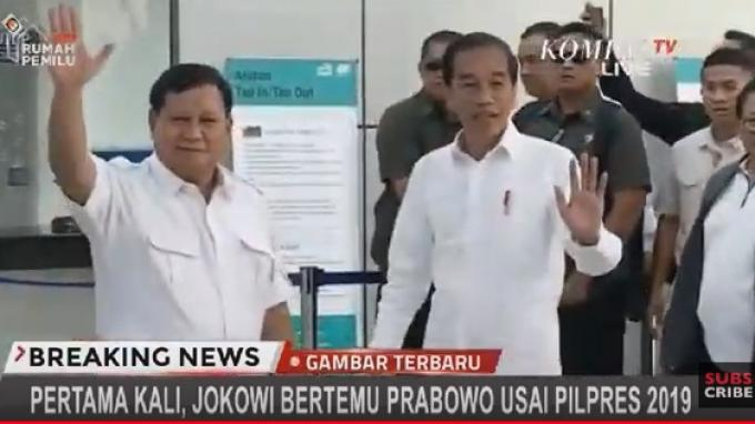 Jokowi dan Prabowo bertemu di Stasiun MRT Lebak Bulus, Jakarta, Sabtu (13/7/2019).