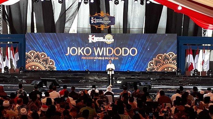 Presiden Joko Widodo (Jokowi) saat sambutan acara Kenduri Kebangsaan, di Kabupaten Bireuen, Aceh, Sabtu (22/2/2020)
