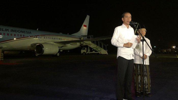 Jokowi dan Ma'ruf Amin di Lanud Halim Perdanakusuma, Jakarta, Kamis (27/6/2019).