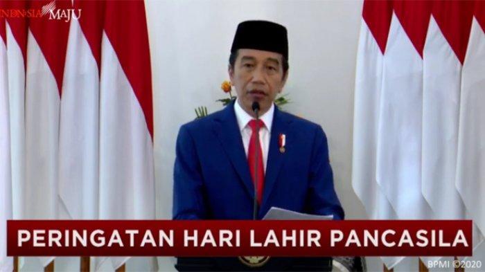 Presiden Joko Widodo (Jokowi) bersama jajaran menteri hingga kepala lembaga memperingati Hari Lahir Pancasila, Senin (1/6/2020).