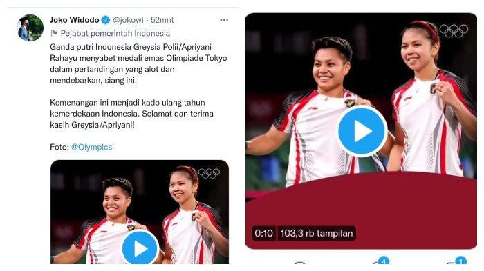 Jokowi Ucapkan Terima Kasih pada Greysia dan Apriyani