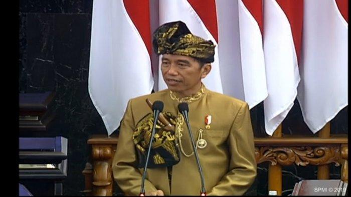Jokowi di Sidang Tahunan MPR RI 2019 di Jakarta, Jumat (16/8/2019).